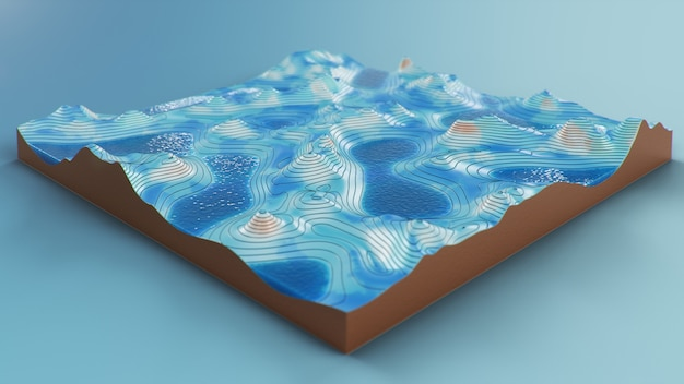 Cross section topographic 3d map with water. contour lines on a topographic map