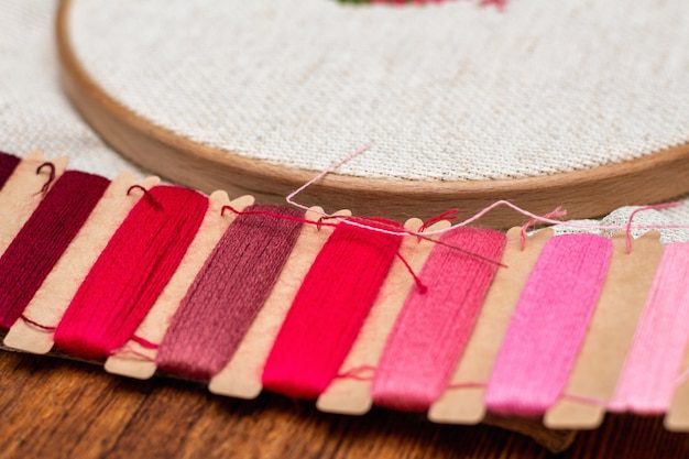 Cross stitching embroidery process. needle embroidery frame threads.