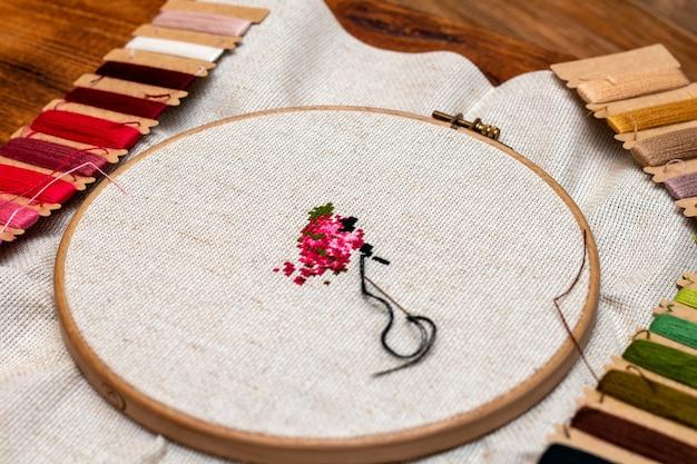 Cross stitching embroidery process