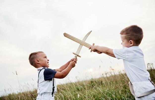 Скрещенные мечи. как в фильме. двое детей веселятся, играя с деревянными мечами в поле.