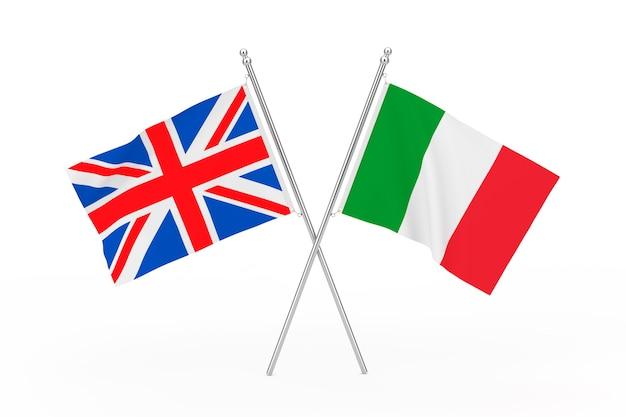 흰색 바탕에 영국과 이탈리아 플래그를 넘어. 3d 렌더링