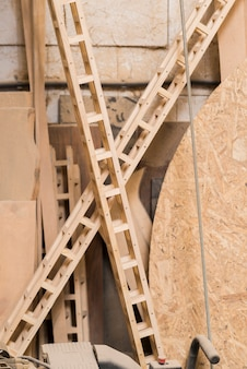 Crossed wooden structures in the workshop
