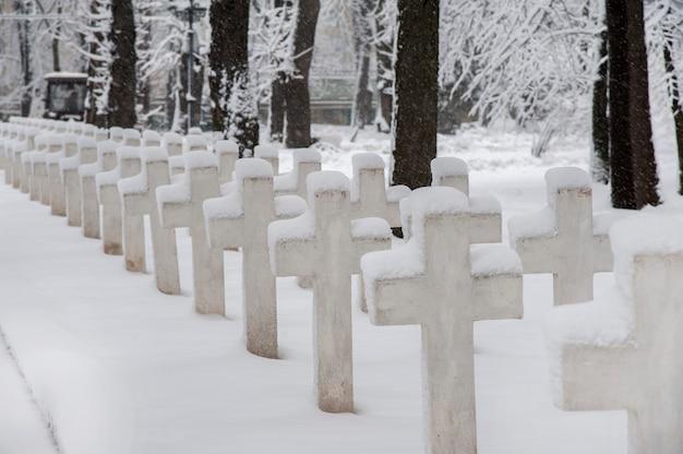 군 묘지의 십자가는 신선한 눈으로 덮여 있습니다.