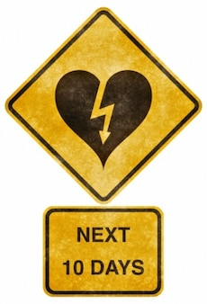 Crossing road grunge sign   heart stricken