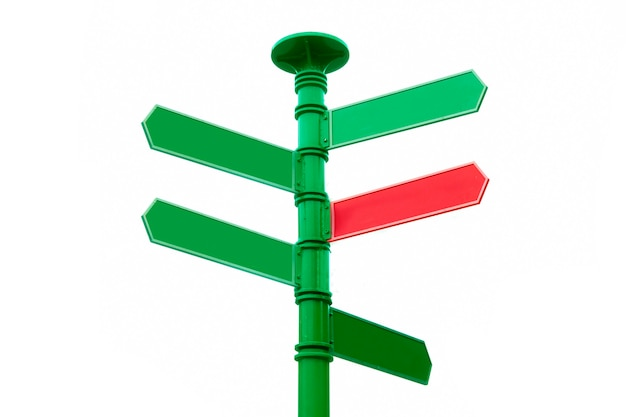 Crossroad signpost, sign post opposite directions. blank for copy space.