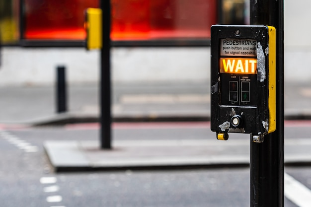 Crosswalk button for pedestrian with light warning