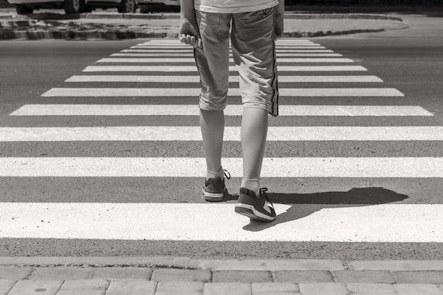 Crosswalk pedestrian walkon road
