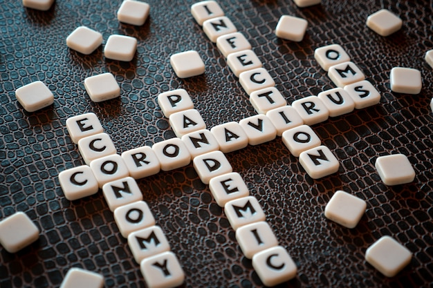 Crossword game pieces forming some words related with coronavirus