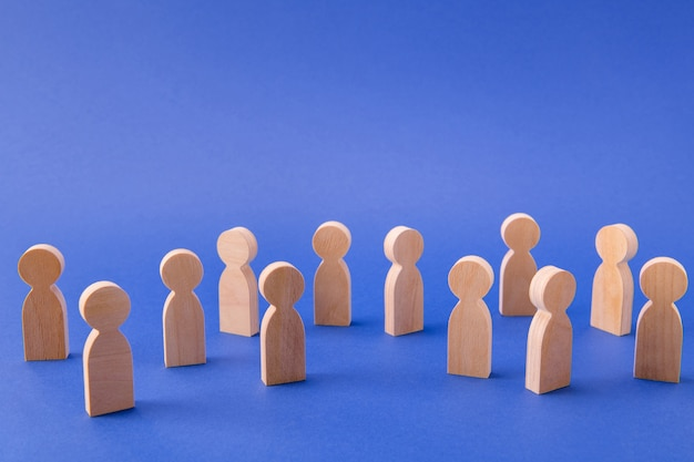 Crowd of many faceless people figures same social layer Premium Photo