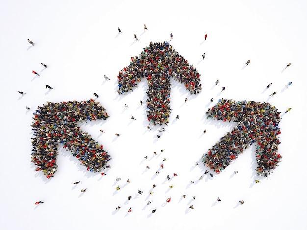 Толпа людей, образующих три стрелы, идущие в трех разных направлениях. 3d визуализация