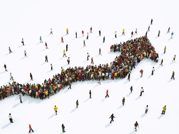 Толпа людей объединилась, образуя растущую стрелу