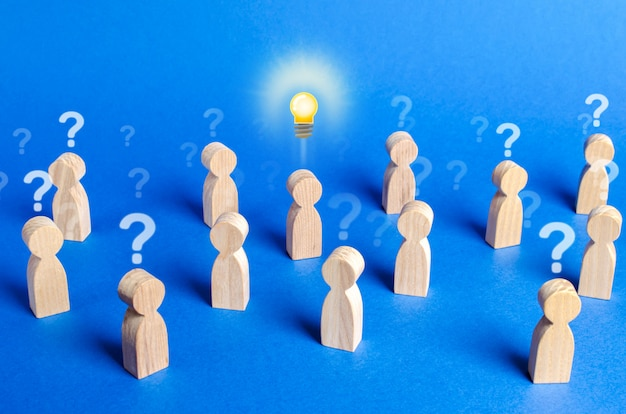 Crowd of people with question marks and a person with an idea. dispelling all speculation doubt