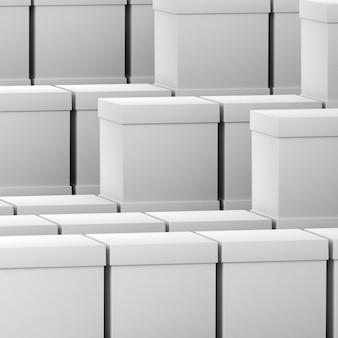 Folla di semplici scatole di cartone