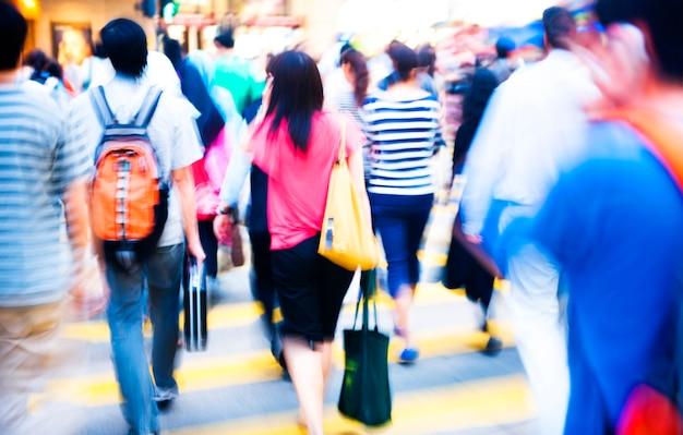 中国の香港での交差点の混雑。