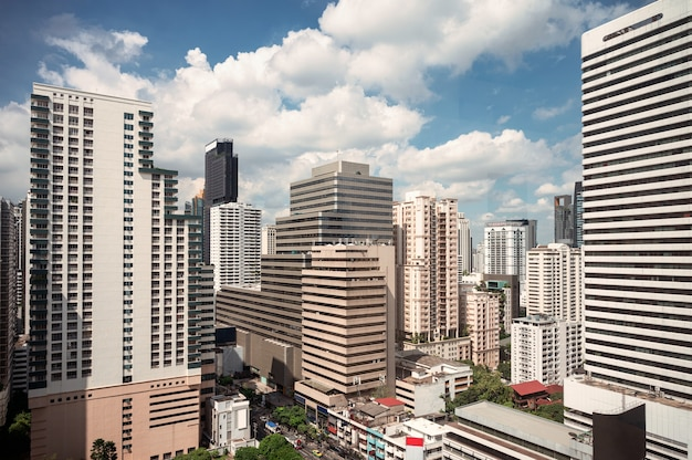 Crowded office building in business district at bangkok downtown