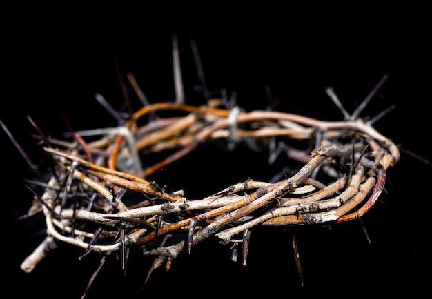 Crown of thorns in the dark close up. the concept of holy week, suffering and crucifixion of jesus.