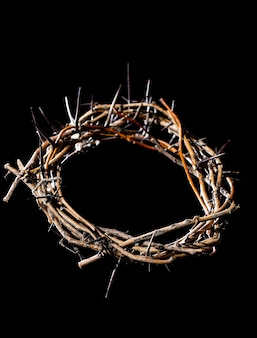 Crown of thorns in the dark. the concept of holy week, suffering and crucifixion of jesus.