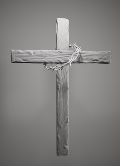 Crown of thorns hung around the easter cross 3d rendering