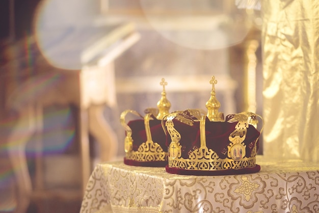 Crown for wedding in orthodox church gold. haze toning.