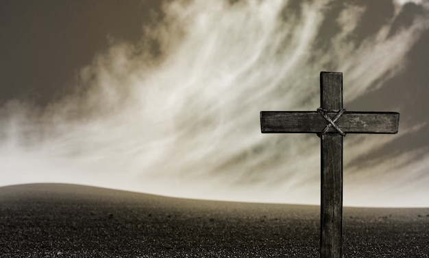 Crucifixion of jesus christ on background
