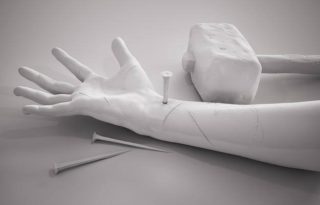 Crucifixion of jesus christ - hand hammer nails and crown of thorns 3d rendering white background