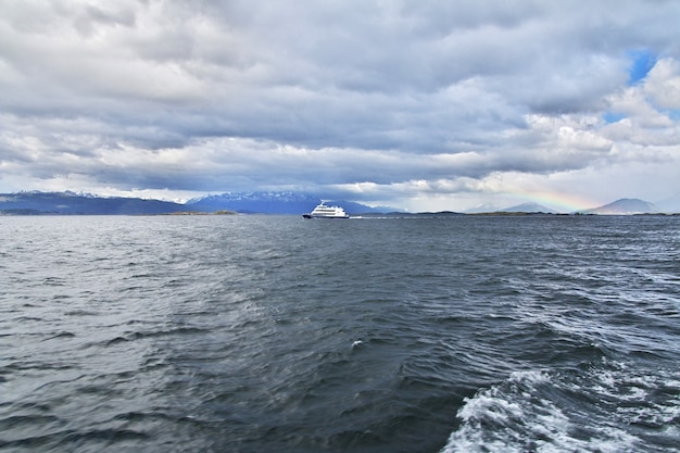 The cruise on beagle channel close ushuaia city, tierra del fuego, argentina