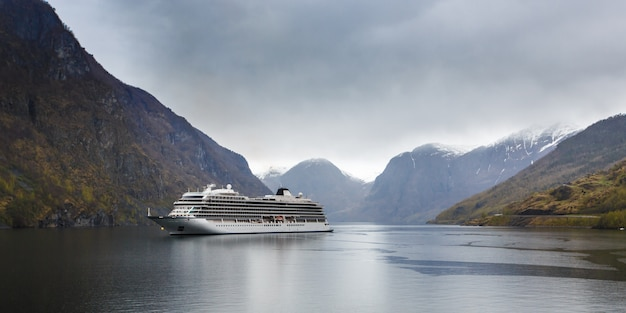 Cruise liner in fjord