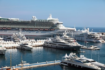 Cruise ship and yachts in monaco