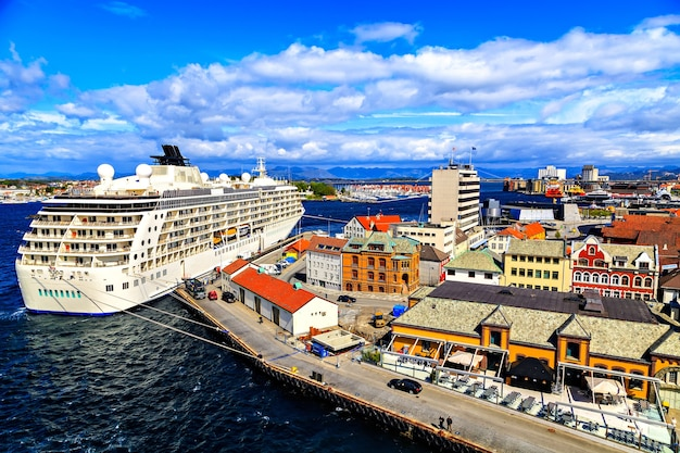 Cruise ship in port, view from top