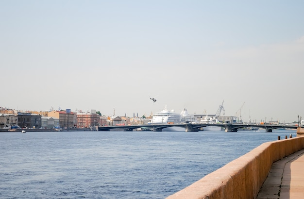 Cruise ships moored on the waterfront of st. petersburg on the neva river
