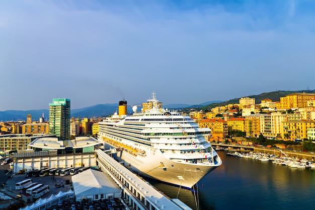 Cruiser in harbour of savona, italian riviera