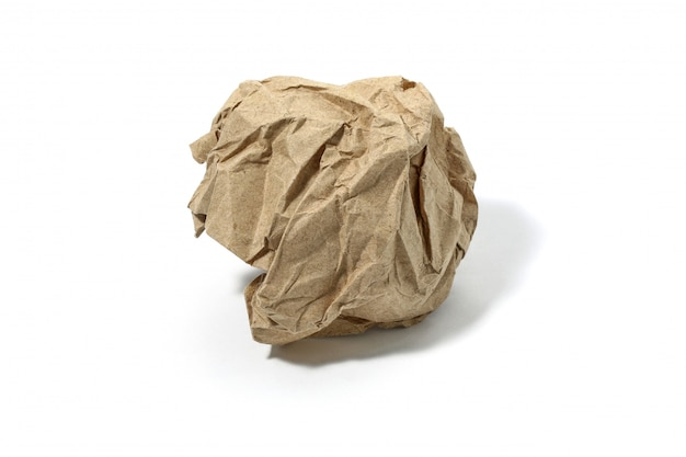 Crumbled used paper ball