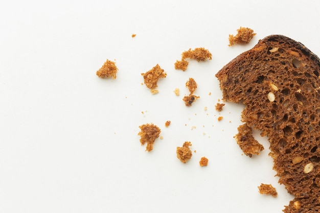Crumbs of bread leftover food waste