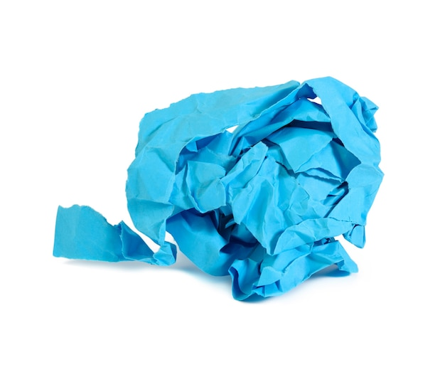 Crumpled ball of blue paper on white