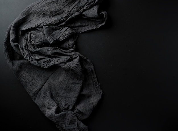 Crumpled black gauze fabric