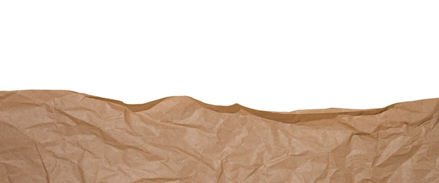 Мятой коричневой крафт-бумаги, изолированные на белом фоне. баннер.