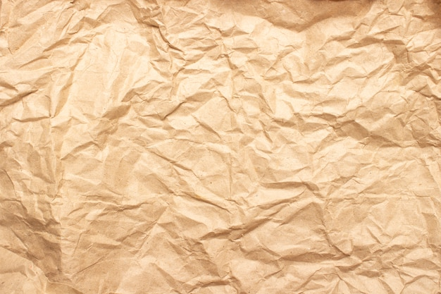 Crumpled brown craft paper texture