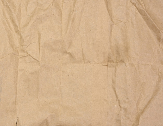 Crumpled brown paper texture, full frame
