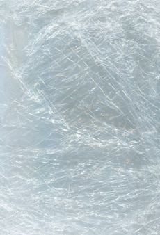 Crumpled cellophane transparent. cellophane for packaging or product protection.