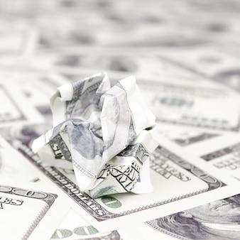 Crumpled dollar bill of the united states lies  set of smooth money bills