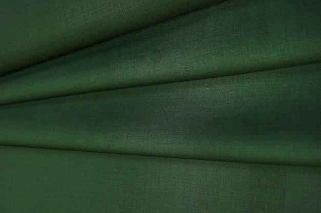 しわくちゃのグリーンウール生地の質感
