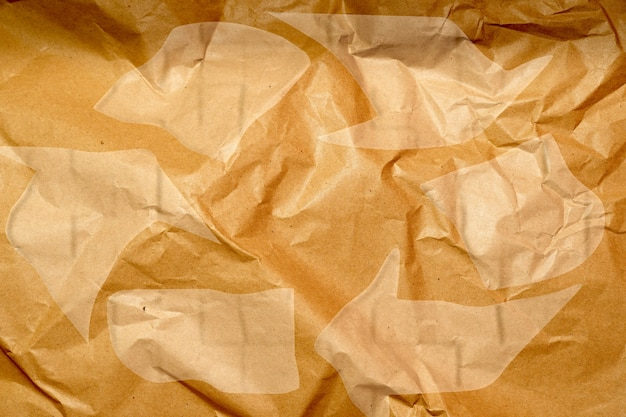 Crumpled paper mache background. recycling concept. flat lay
