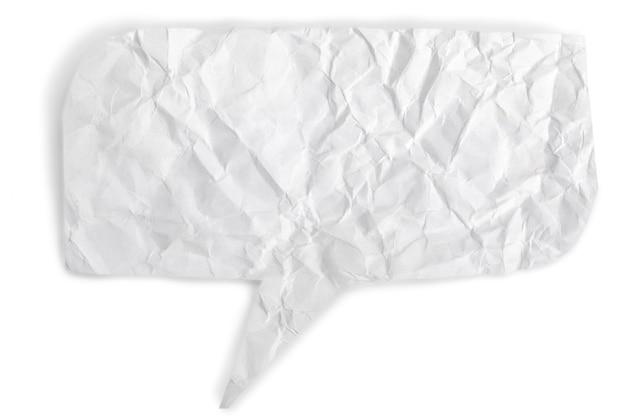 Crumpled  paper speech bubble over white