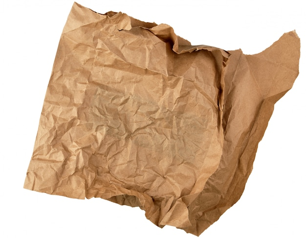 Crumpled piece of brown paper isolated