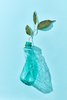 Crumpled plastic bottle and green leaf twig with transparent shadows on a pastel blue wall, place for text. concept enviroment pollution of plastic.
