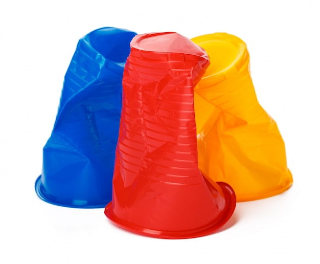 Crumpled plastic cup isolated
