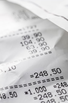 Crumpled receipt close up