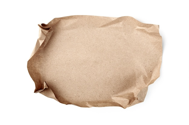 Crumpled sheet of craft paper. recyclable material.