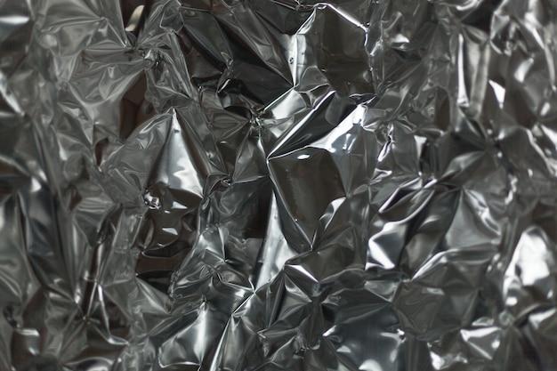 Crumpled silver aluminum foil