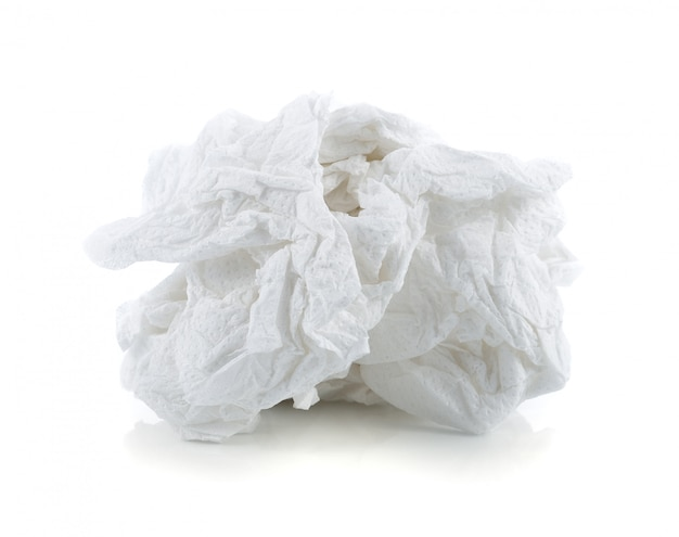 Crumpled tissue paper isolated on white